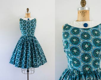 1960s Enchanted Ocean cotton aquatic dress / 60s floral blues