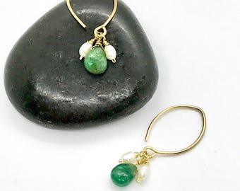 Emerald and Pearl Gold Dangle Earrings