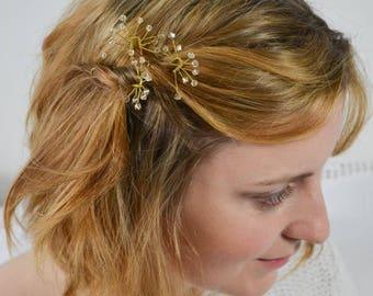 Crystal Bridal Hairpins Set of 3 Light Peach Glasbeads