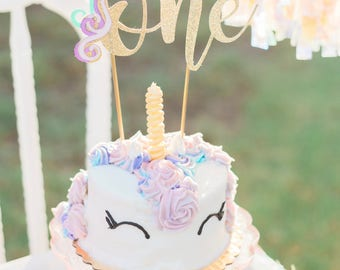 Unicorn First Birthday Cake Topper Gold Glitter