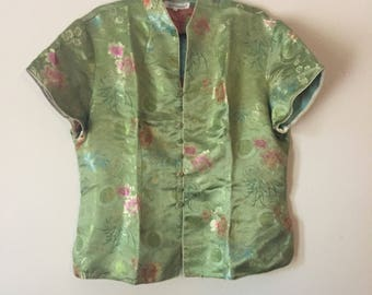 Lime Green Cheongasm | XL button up mandarin collar woven satin floral print short sleeve womens 90s vintage cyber goth club kid hipster L