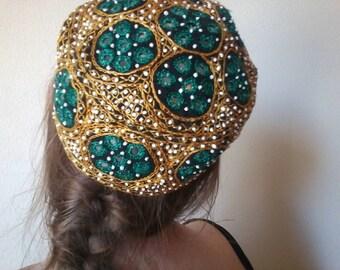 Embroidered Mirror Cap | ONE SIZE 70s vintage folk indie inspired yelloe green disc mirrors hippie unisex hat art boho MINI hat