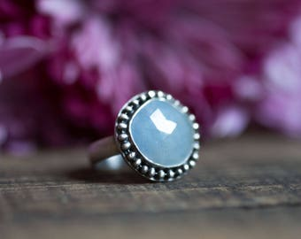 Light Blue Sapphire Cocktail Ring Sterling Silver Rose Cut Sapphire Ring Size 9.5  Valentine Gift for Her  Girlfriend Gift - Winter Fashion