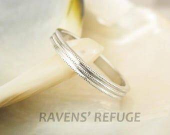 elegant platinum wedding band stacking ring with milgrain artisan handmade 3mm wide - Handmade Wedding Rings