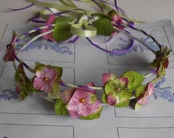 Pink Wedding Wreath, Velvet Flower Wreath, Flower Girl Wreaths, Pink Wreaths Halos Crowns, Pink Flower Circlets, Handmade Renaissance Halo