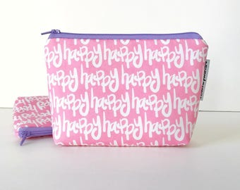 simple pouch -- happy in pink