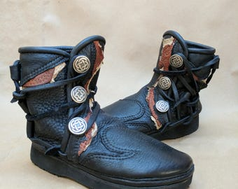 Buffalo Moccasin Festival Playa Renaissance Ankle Boots Burning Man Gypsy Medieval Boots Womens 6 to 6.5