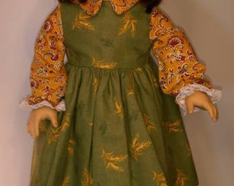 Fall green dress with golden wheat print and a tan paisley blouse fits 18 inch dolls like American girl,