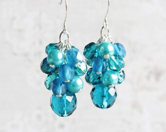 Dark Aqua Blue Beaded Dangle Earrings on Silver Plated Hooks