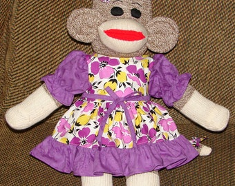 Sock Monkey, Red Heel Sock Monkey, Sock Monkey in a Purple Dress, Baby Shower Gift, New Baby Gift, Nursery Decor