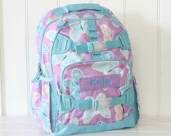 Large Size Pottery Barn Backpack With Monogram -- Lavender/Aqua Butterfly