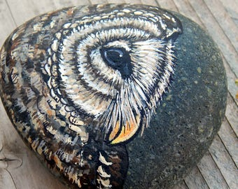 BARRED OWL Medicine Painted Stones Rock Art TOTEM Animals Spirit Guide Owls Artwork Stone Art Paperweight Painted Beach Rocks Forest Gifts