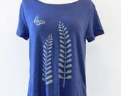 Sample Sale - Blue Scoop Neck Ferns Butterfly T-Shirt