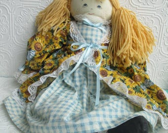RAG DOLL Vintage Primitive Folk Art Blond, Painted Face, Sunflower Dress