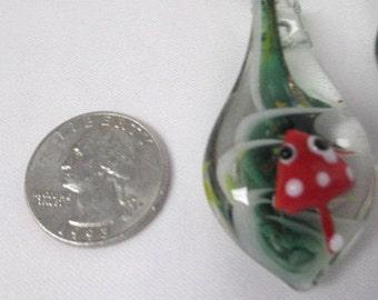 MUSHROOM with Eyes Pendant Jumbo Glass Lampwork SHROOM  - Green and Red