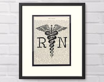 RN Gift - Nurse Gift - RN Registered Nurse Caduceus over Vintage Medical Book Page - RN Graduation Gift,  Nurse Graduation Gift