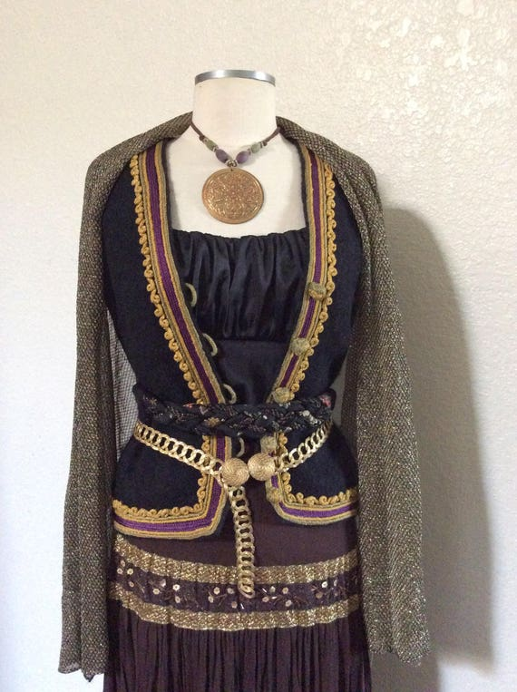Small Fortune Teller Halloween Costume - Greek Inspired Women's Pirate Costume with Authentic Vintage Greek Vest - Small