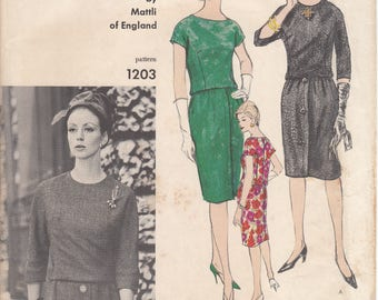 1963 Vogue Couturier Design One Piece Dress Pattern  VOGUE 1203  By Mattli of England  UNCUT, Factory-Folded with Couturier Label  Bust 31