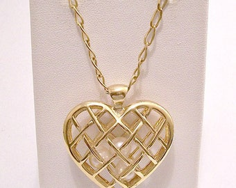 Avon Heart Caged Pearl Beads Necklace Gold Tone Vintage 32 Inch Long Link Chain Three White Beads Basketweave Ribbed Spring Clasp