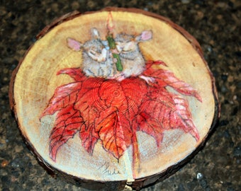 "Prismacolor and Acrylic On Round Birch Wood of Mice ""Peace and Joy"" Sitting Atop a Poinsettia with a Green Candle Painting"