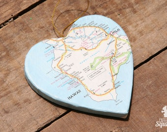 Island of Hawai'i, Hawaii - Vintage Map Covered Heart Ornament - HI, Home Decor, 3 Dimensional, Christmas, Tree, Map Ornament