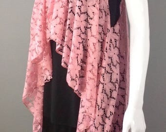 Salmon pink lace sleeve duster O/S
