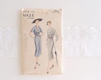 1950s Vogue Dress Pattern 1952 tailored midi tea length Pencil slim skirt Suit shawl collar short or 3/4 length sleeves 7715 ...  sz 16/34