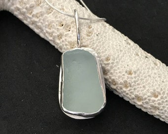 Sea Glass Bezel Necklace, Sterling Necklace, Sterling Bezel Necklace, Sea Glass Necklace, Beach Glass Jewelry, Seaglass Jewelry