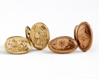 Sale - Antique Edwardian Cameo or Flower Oval Cufflinks - Vintage Art Nouveau 1910s Rose or Yellow Gold Washed Men's Cuff Bean Back Jewelry