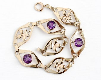 Sale - Vintage Amethyst Bracelet - Retro 1940s 10k Rosy Yellow Gold Genuine Purple Gem - February Birthstone Fine Binder Bros Leaf Jewelry
