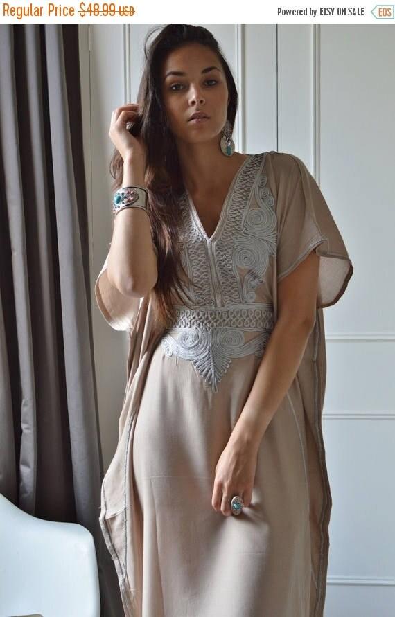 Kaftan dress, Dress 20% OFF/ Beige Resortwear Caftan Kaftan-beach cover up, lounge wear,maternity wear, beach kaftan, moroccan kaftan
