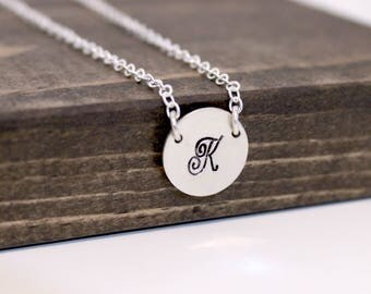 Hand Stamped Sterling Silver Necklace with Two Holes, Sterling Silver Necklace, Personalized Necklace, Two Hole Initial Necklace, Bridesmaid