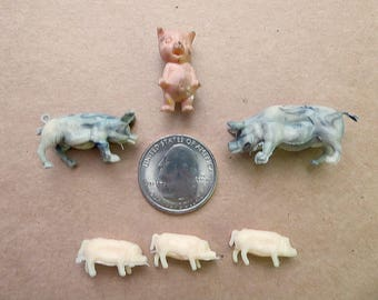 Six Miniature Toy Pig Figurines