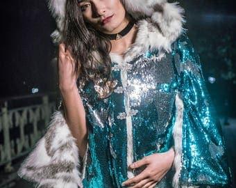 Sequin Faux Fur Goddess Cape- Multiple Colors- Color Changing Burning Man Playa Festival Coat