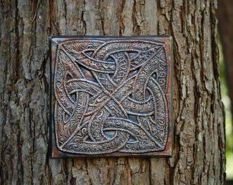 Irish Gift, Celtic Fantasy Wall Plaque, Celtic Knot Sculpture, Celtic Stone Art, Irish Home Decor, Ireland Art