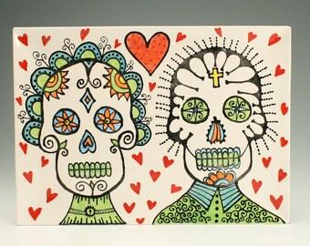 Day of the Dead Platter, Wedding Anniversary Sugar Skull Ceramic Platter, Day of the Dead Art, Halloween Decor, Gothic Wedding, Folk Art