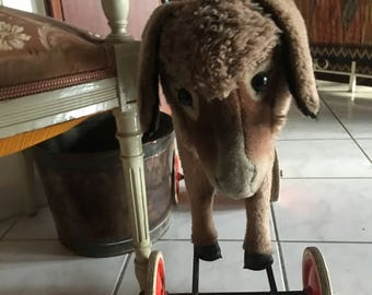 Vintage Antique LARGE Rare Steiff Donkey on Wheels