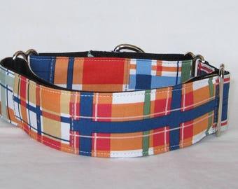 Handsome Plaid Martingale Dog Collar - 1.5 or 2 Inch - orange navy blue green red stripes