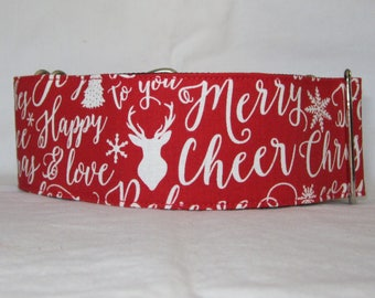 Christmas Cheer in Red Martingale Dog Collar - 1.5 or 2 Inch - white winter holiday joy snow deer tree love words