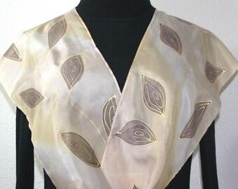 Silk Scarf Hand Painted. Tan Beige Ivory Handmade Silk Scarf ALASKA MORNING. Size 11x60. Anniversary Gift. Birthday Gift. Bridesmaid Gift