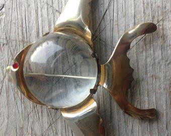 vintage brooch pin jelly belly angel fish rhinestone eye