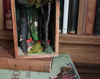 Fairy Tale Shadowbox, OOAK Art & Miniatures, Magical Forest