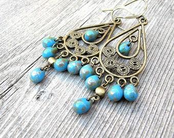 Turquoise Blue Bohemian Earrings, Teardrops Chandeliers, Czech Picasso Earring, Festival Fashion, Boho Chic Chandeliers, Tribal Hippie