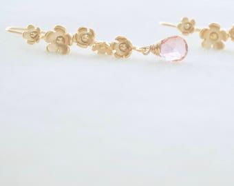 Gold Flower Earrings - Pink Earrings, Floral Earrings, Fall Floral Earrings, Dainty Earrings, Feminine Earrings, Delicate Gold Earrings