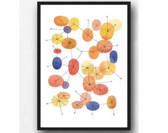 Abstract Print, Orange Blue, Midcentury Print, Connections, Abstract Wall Art, Retro Style