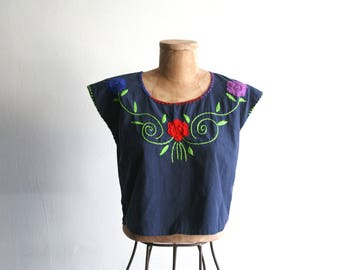 Cropped Navy Blue Embroidered Mexican Top sm