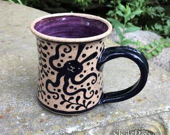 OctoBunny Mug - stoneware ceramic handmade coffee cup rabbit bunny tentacles