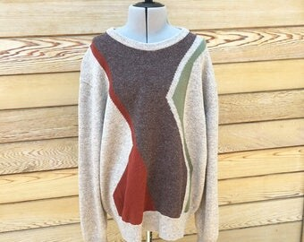 Vintage Men's Lambswool Sweater, Beige Colorblock Sweater, Wool Pullover, Made in Great Britain,