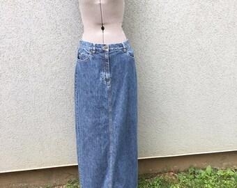 vintage 90s blue denim maxi skirt 90s womenu0027s clothing vintage jean skirt 90s