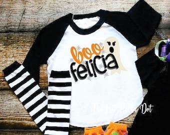 Girls Halloween Shirt, BOO Felicia Funny Halloween Shirt for Girls Halloween Shirt, Black Sleeve Raglan, Infant Toddler Youth Girl